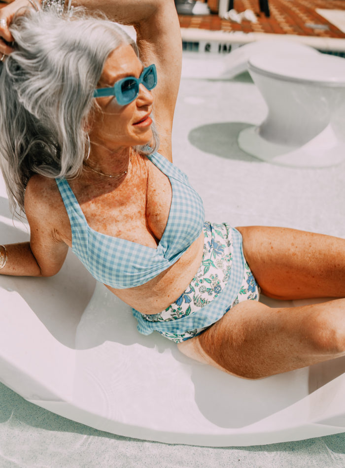 Lisa for Lands' End wearing a light blue two piece bikini
